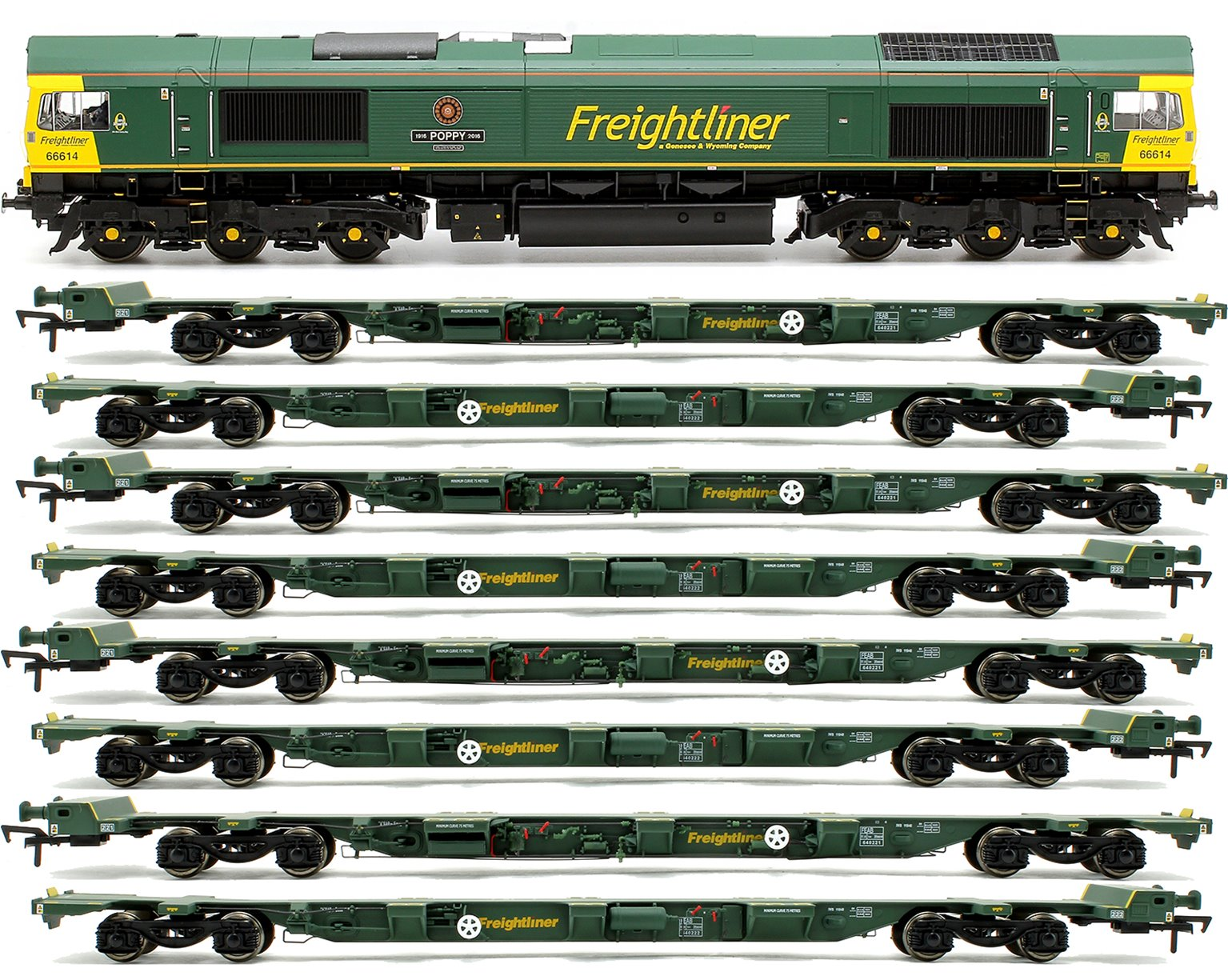 Class 66 614 'Poppy' Freightliner Locomotive plus 4x FEA-B Spine Wagon Twin Pack