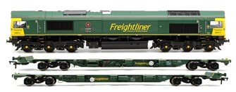 Class 66 614 'Poppy' Freightliner Locomotive plus 1x FEA-B Spine Wagon Twin Pack