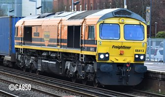 Class 66 66413 'Lest We Forget' Freightliner Orange & Black Diesel Locomotive
