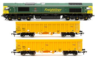Class 66 614 'Poppy' Freightliner Locomotive plus 2x Network Rail IOA Ballast Wagons