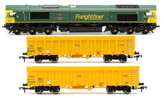 Class 66 614 'Poppy' Freightliner Locomotive plus 2x Network Rail IOA Ballast Wagons