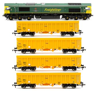Class 66 614 'Poppy' Freightliner Locomotive plus 4x Network Rail IOA Ballast Wagons