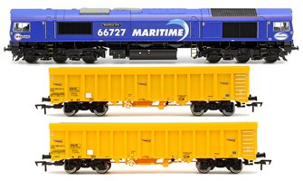 "Class 66 727 ""Maritime One"" Locomotive plus 2x Network Rail IOA Ballast Wagons"