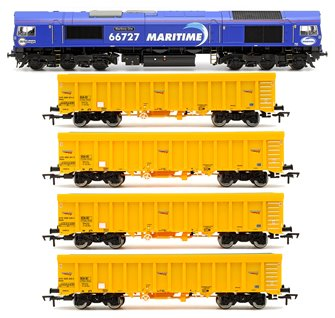 "Class 66 727 ""Maritime One"" Locomotive plus 4x Network Rail IOA Ballast Wagons"