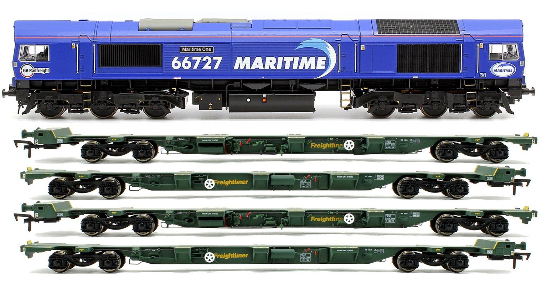 "Class 66 727 ""Maritime One"" Locomotive plus 2x FEA-B Spine Wagon Twin Pack"
