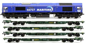 "Class 66 727 ""Maritime One"" Locomotive plus 2x FEA-B Spine Wagon Twin Pack"