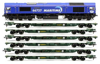 "Class 66 727 ""Maritime One"" Locomotive plus 3x FEA-B Spine Wagon Twin Pack"