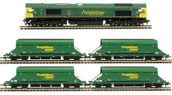 Class 66 614 'Poppy' Freightliner Diesel Locomotive with four HIA Freightliner Heavy Haul Limestone Hoppers