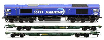 "Class 66 727 ""Maritime One"" Locomotive plus 1x FEA-B Spine Wagon Twin Pack"