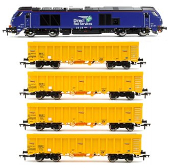 Class 68 026 DRS (Plain Blue) Locomotive with Set of 4 Network Rail IOA Ballast Wagons
