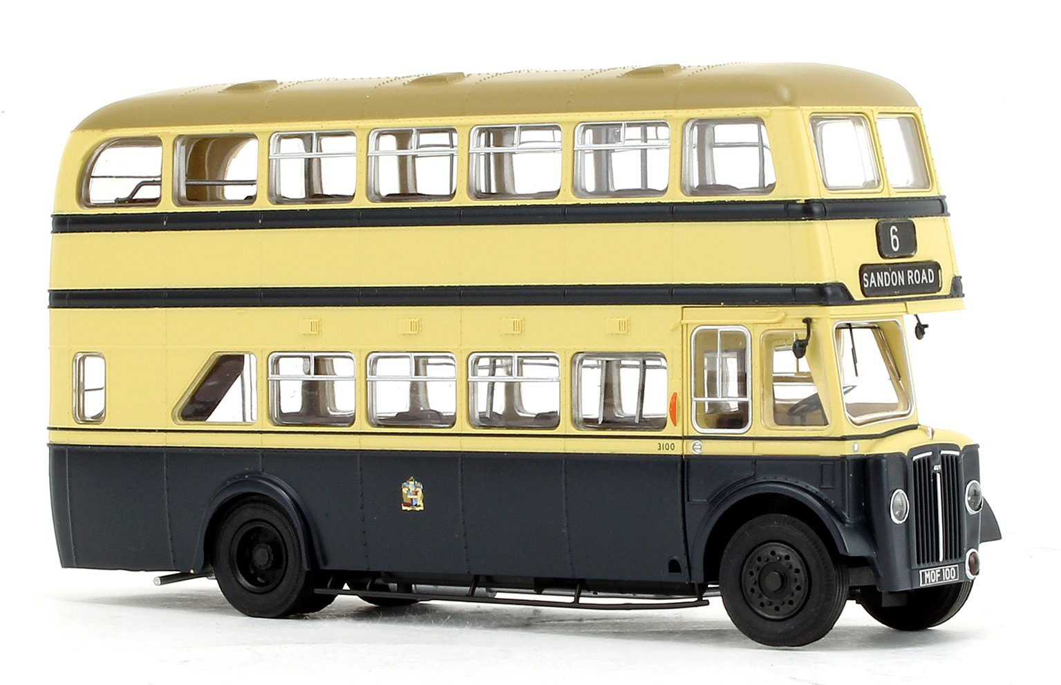 Deluxe Edition Birmingham City Transport (BCT) Blue/Cream with Khaki Roof Guy Arab IV with Metro-Cammell body - Fleet No.3100 - 6 Sandon Road - Licence No. MOF 100 (Black Numbers)