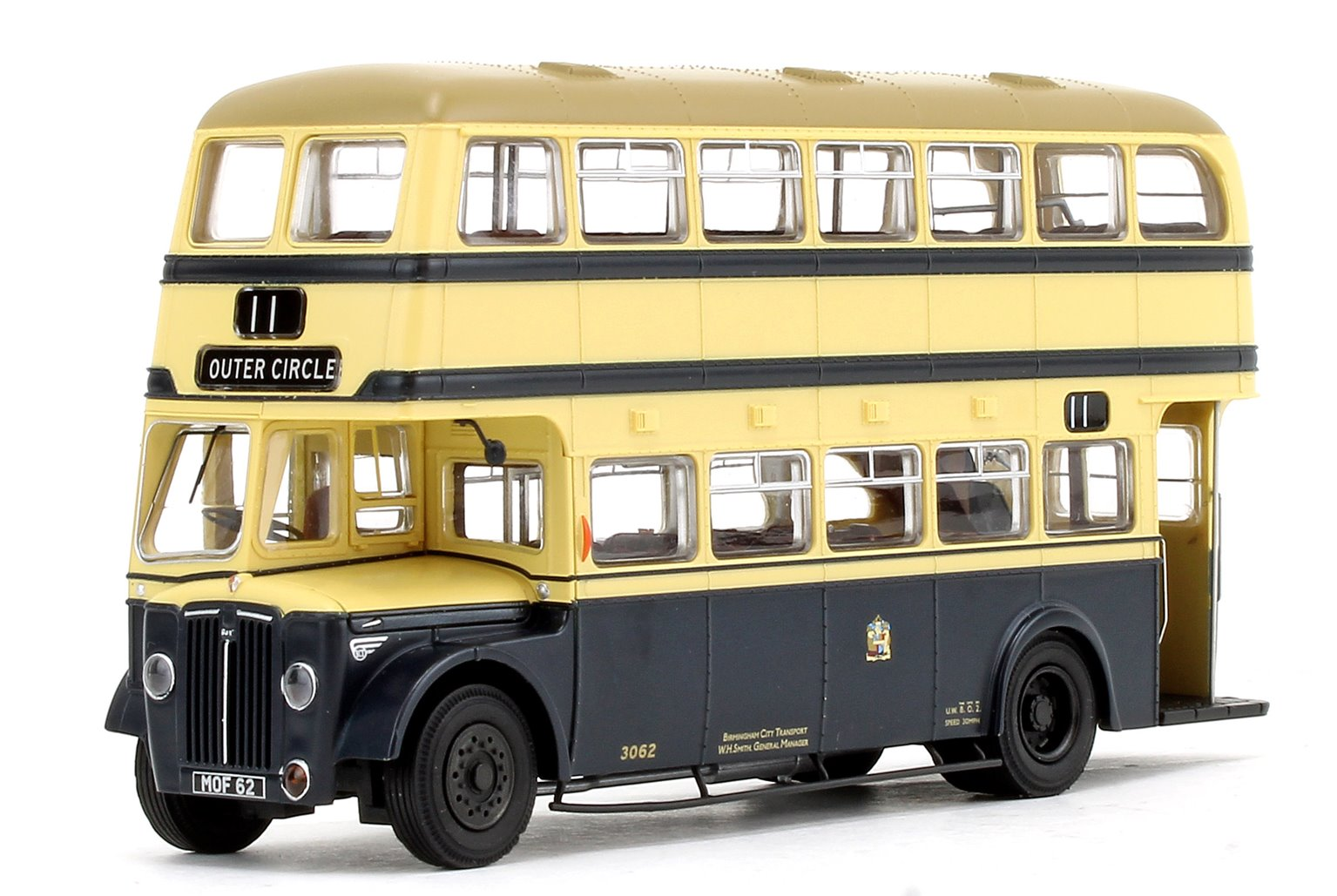 Deluxe Edition Birmingham City Transport (BCT) Blue/Cream with Khaki Roof Guy Arab IV with Metro-Cammell body - Fleet No.3062 - 11 Outer Circle - Licence No. MOF 62 (Gold Numbers)