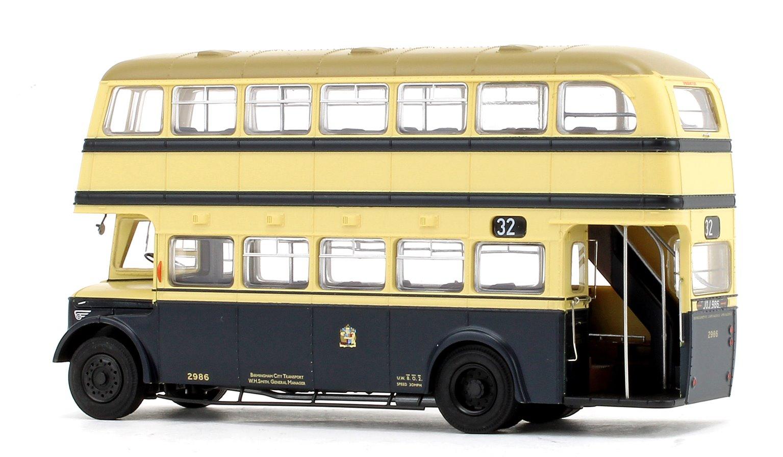Deluxe Edition Birmingham City Transport (BCT) Blue/Cream with Khaki Roof Guy Arab IV with Metro-Cammell body - Fleet No.2986 - 32 Gospel Lane Loop Via Lakey Lane - Licence No. JOJ 986 (Gold Numbers)