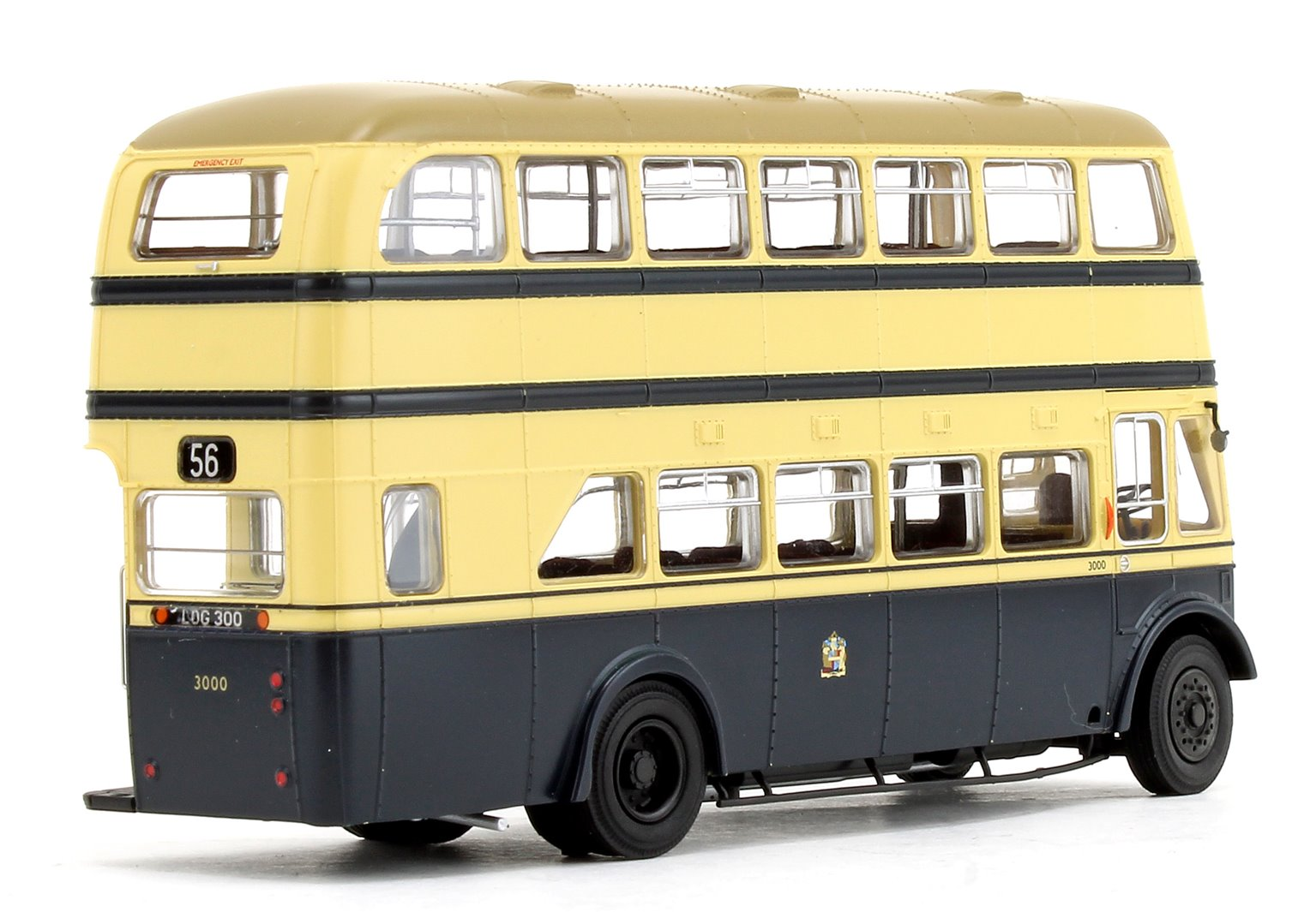 Birmingham City Transport (BCT) Blue/Cream with Khaki Roof Guy Arab IV with Metro-Cammell body - Fleet No.3000 - 56 Castle Bromwich (Newport Road) - Licence No. LOG 300 (Black Numbers)