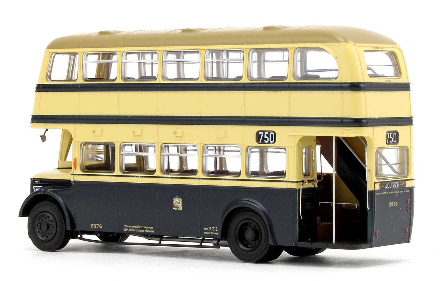 Birmingham City Transport (BCT) Blue/Cream with Khaki Roof Guy Arab IV with Metro-Cammell body - Fleet No.2976 - 750 Wythall Transport Museum - Licence No. JOJ 976 (Gold Numbers)