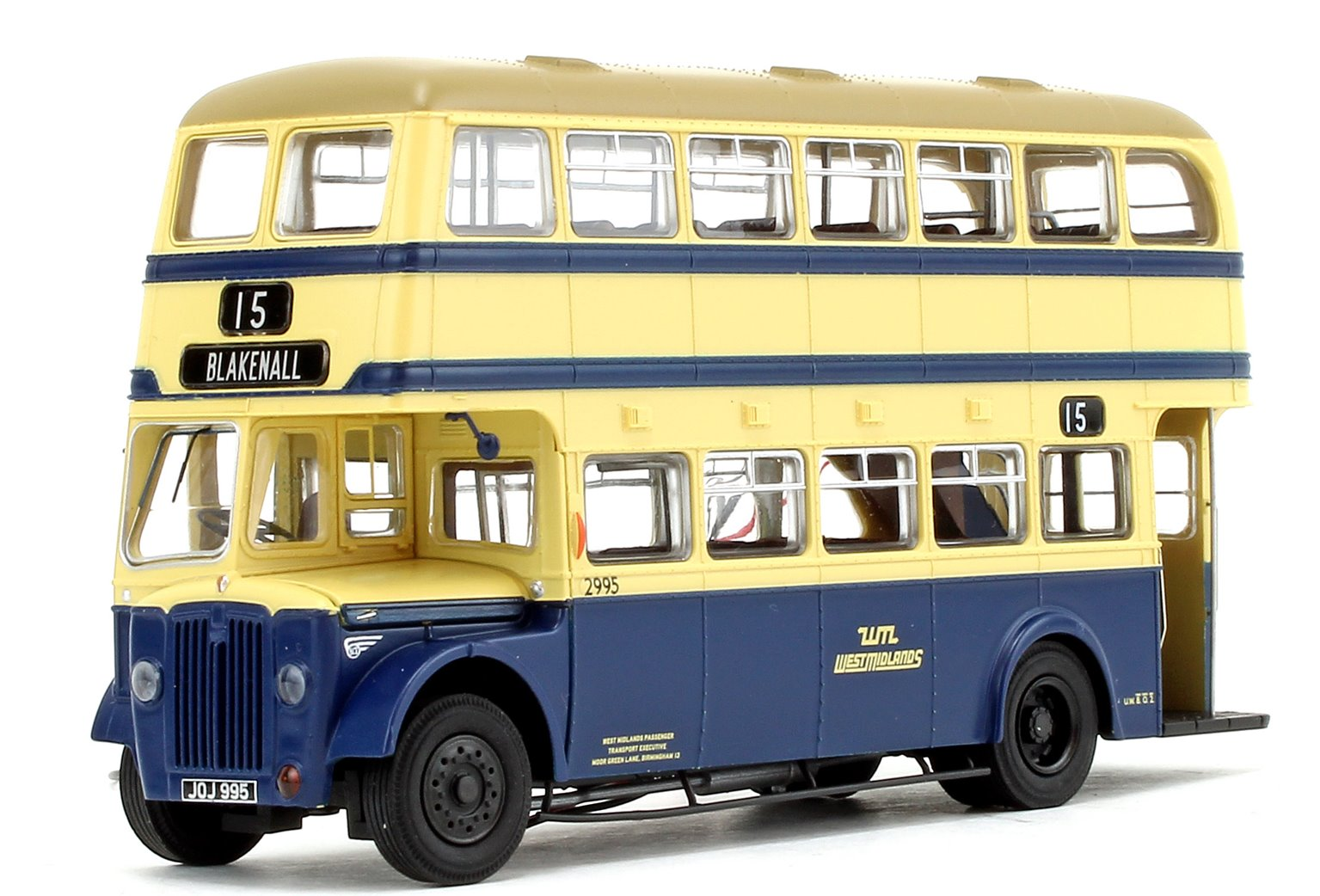 Deluxe Edition West Midlands PTE (WMPTE) Oxford Blue and Cream with Khaki Roof Guy Arab IV with Metro-Cammell body - Fleet No.2995 - 15 Blakenall - Licence No. JOJ 995