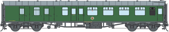BR SR Green MK1 BSK Coach Unnumbered (DCC Fitted)