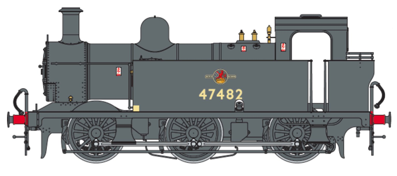 Class 3F Jinty BR Black (Late Crest) 0-6-0 Tank Locomotive No.47482