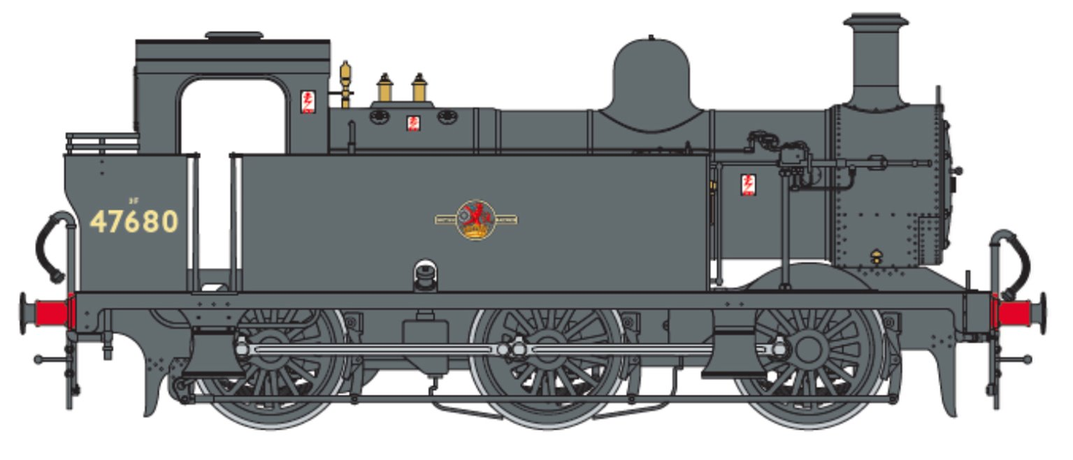 Class 3F Jinty BR Black (Late Crest) 0-6-0 Tank Locomotive No.47680 DCC Fitted
