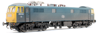 Class 86/0 'AL6' Bo-Bo Electric Locomotive BR Rail Blue 86034 with double arrow logo, full yellow ends WEATHERED