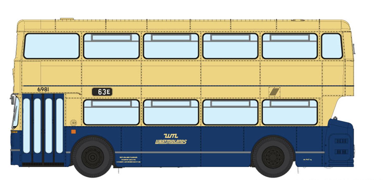 1/76 West Midlands Fleetline #6981 - WMPTE Blue/Cream - 63E SELLY OAK VIA BRISTOL ROAD