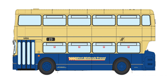 1/76 West Midlands Fleetline #6466 - WMT Blue/Cream - 23 WOODGATE VIA HARBORNE