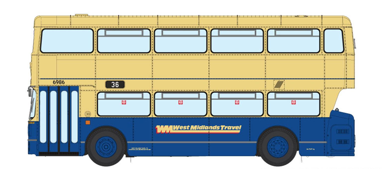 1/76 West Midlands Fleetline #6986 - WMT Blue/Cream - 36 KERESLEY VILLAGE VIA CITY