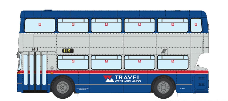 1/76 West Midlands Fleetline #6913 - TWM Blue/Silver -  115 SUTTON COLDFIELD VIA ERDINGTON AND WALMLEY