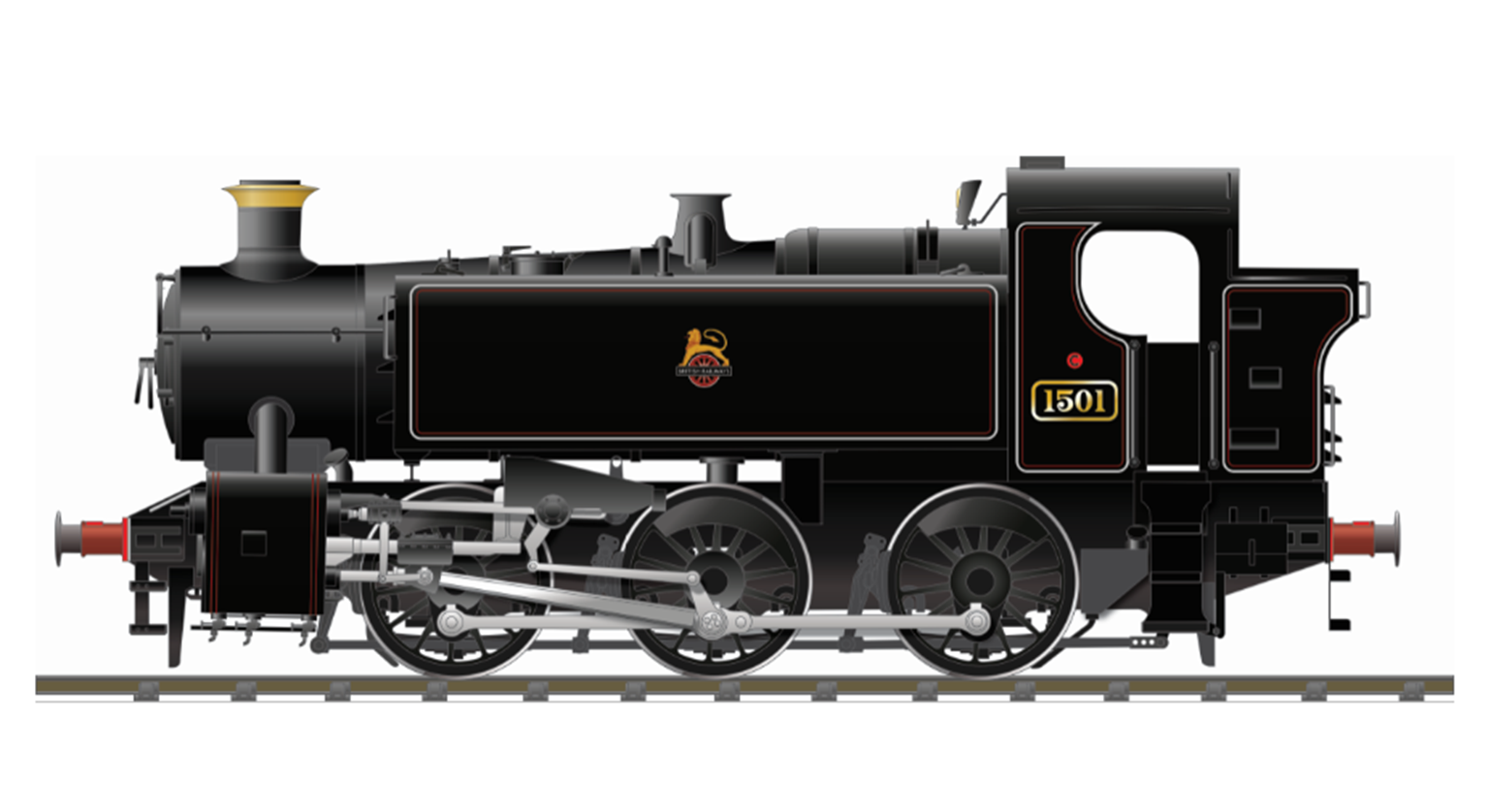 BR 15xx Pannier Tank - 1501 Lined Black Early Crest (as preserved) - DCC SOUND