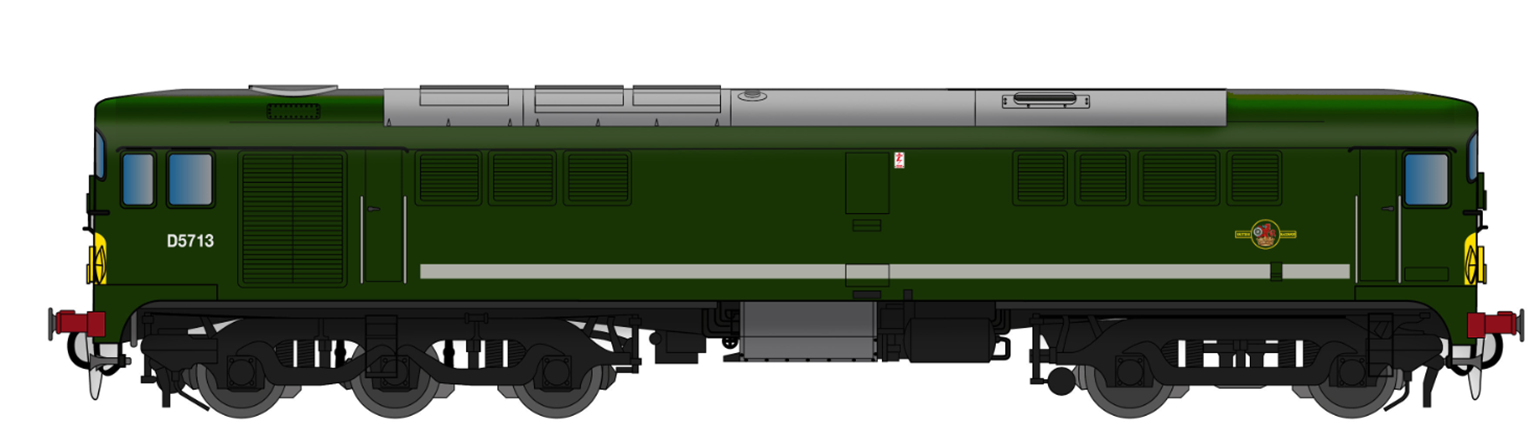 Class 28 D5713 BR Green With Small Yellow Panel (Large Radius Corners) - DCC SOUND
