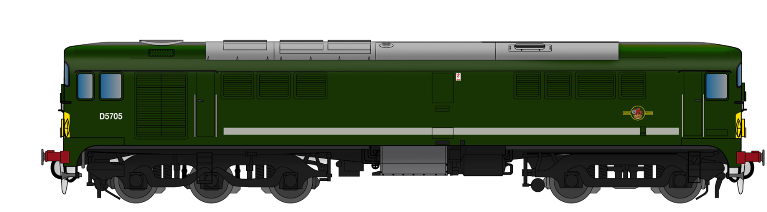 Class 28 D5705 BR Green With Small Yellow Panel (Small Radius Corners) As Preserved - DCC SOUND