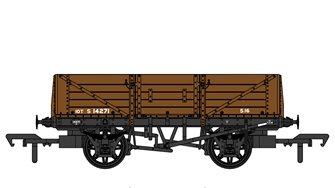 SECR 1347 5 Plank Open Wagons - SR Brown (w/BR markings) #S14271