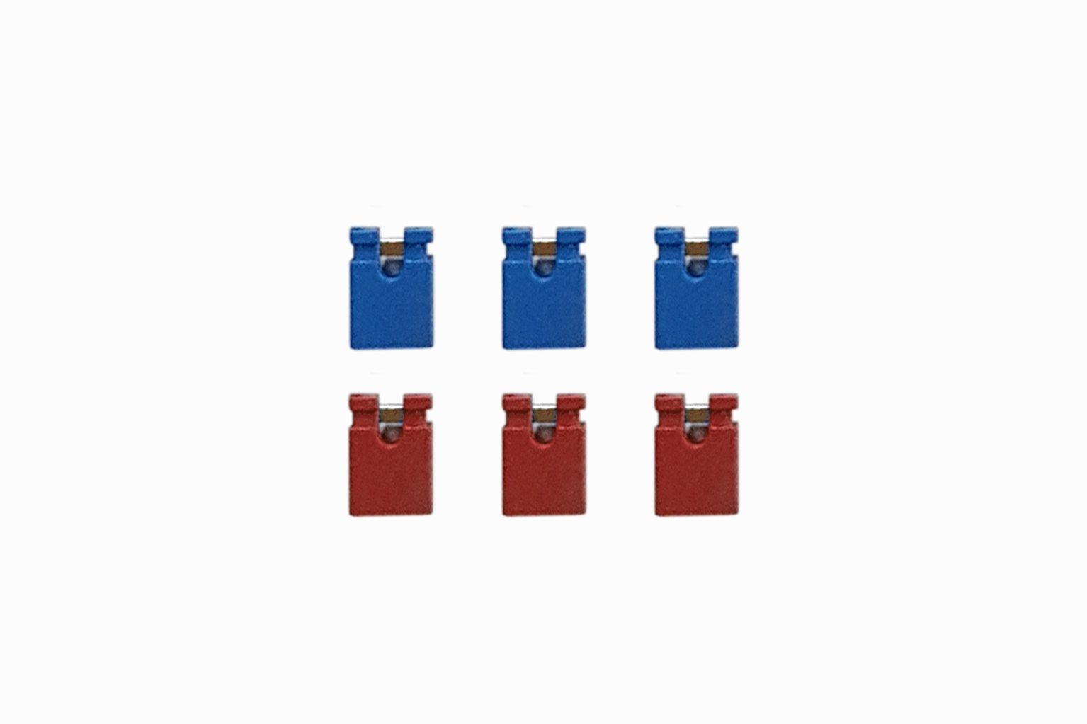 6 Spare ABC Board Headers, 3x Blue, 3x Red