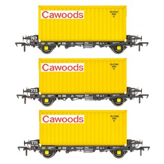 Set of 3 PFA 2 Axle Container Flat Wagons with Cawoods Coal Containers (Pack D)