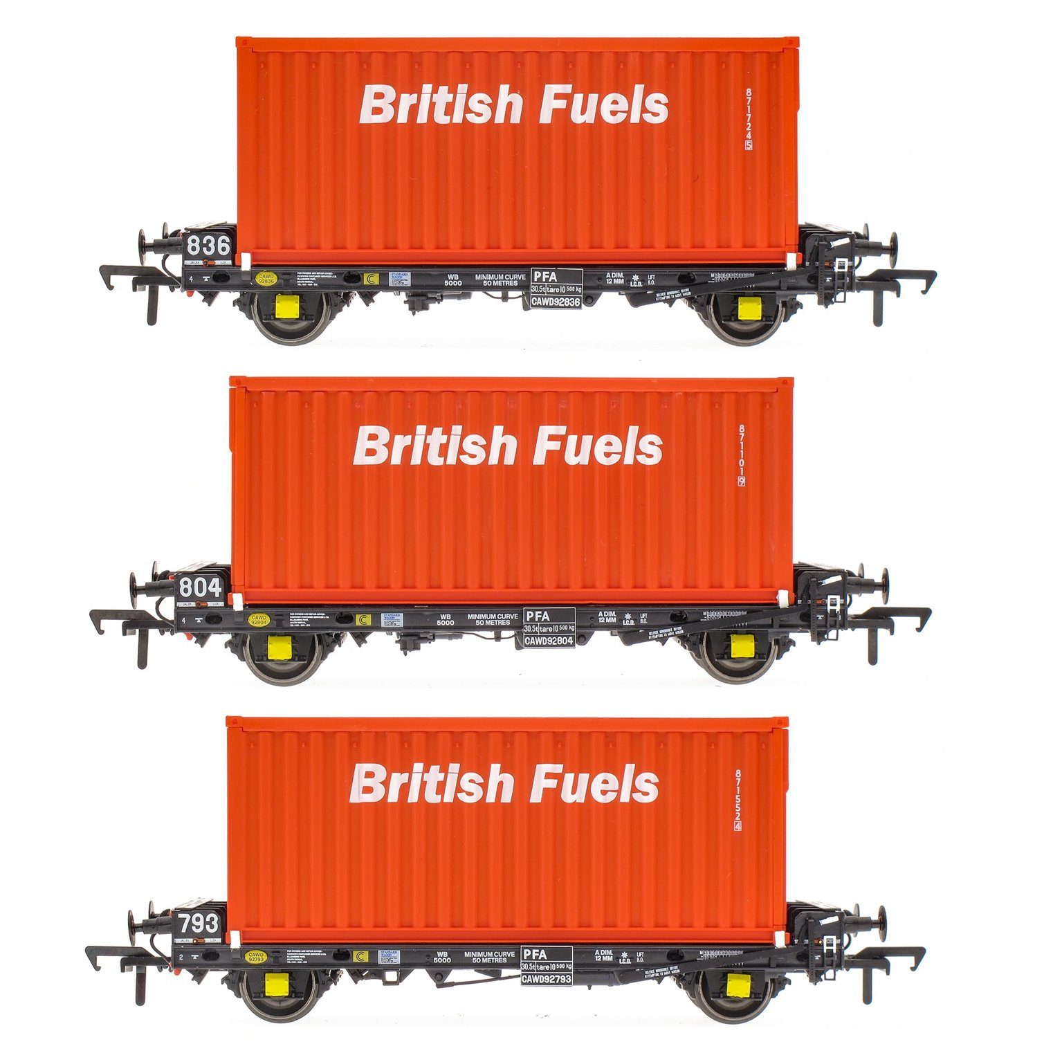Set of 3 PFA 2 Axle Container Flat Wagons with British Fuels Coal Containers (Pack F)
