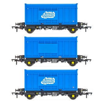 Set of 3 PFA 2 Axle Container Flat Wagons with Gypsum Containers (Pack I)