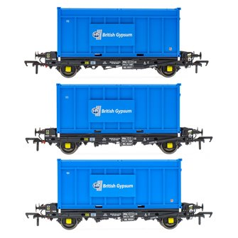 Set of 3 PFA 2 Axle Container Flat Wagons with Gypsum Containers (Pack J)
