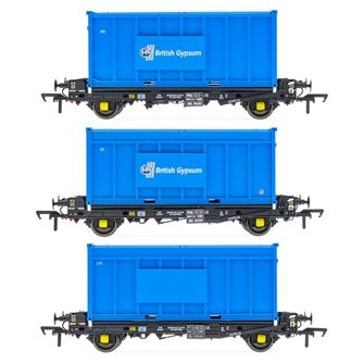 Set of 3 PFA 2 Axle Container Flat Wagons with Gypsum Containers (Pack K)