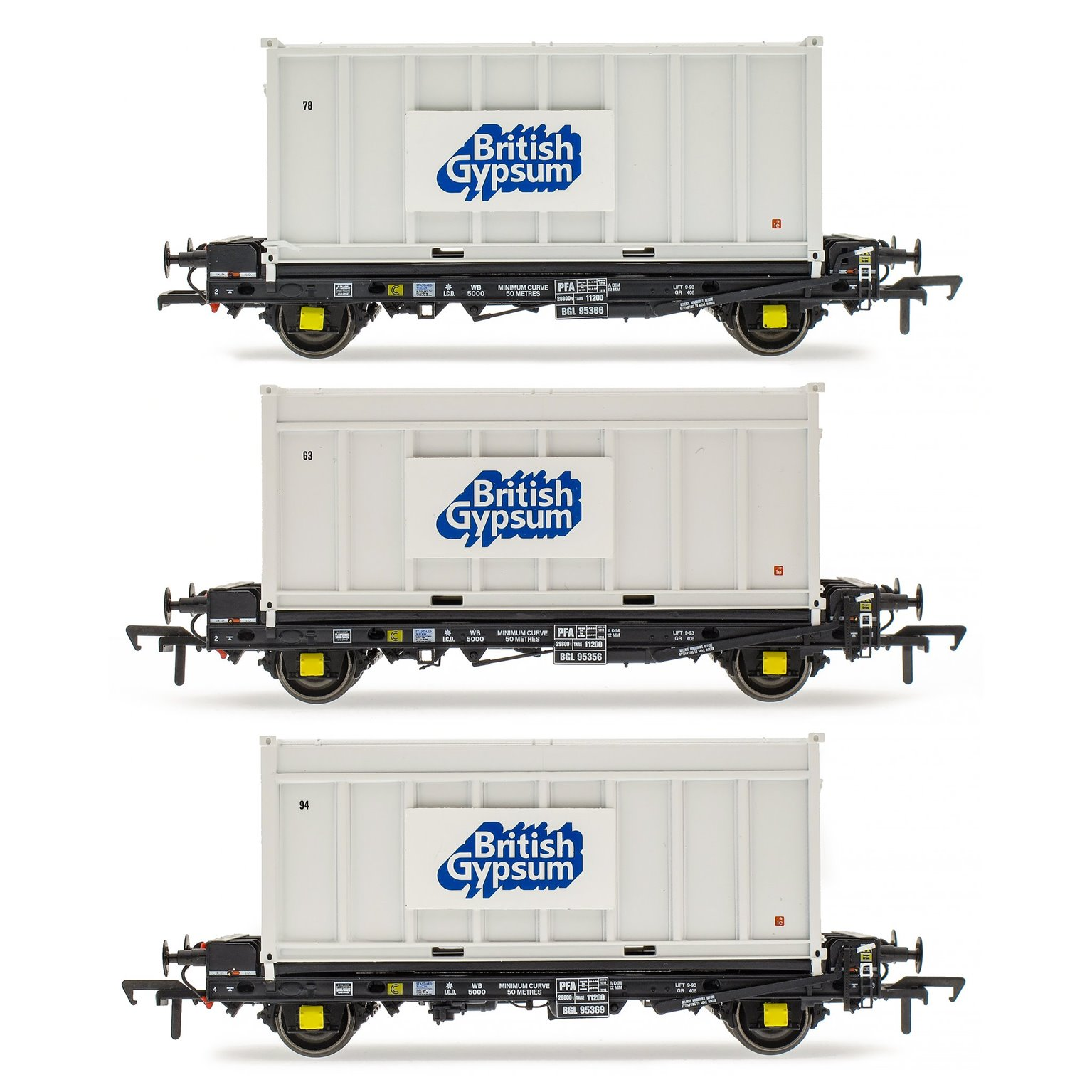 Set of 3 PFA 2 Axle Container Flat Wagons with Gypsum Containers (Pack L)