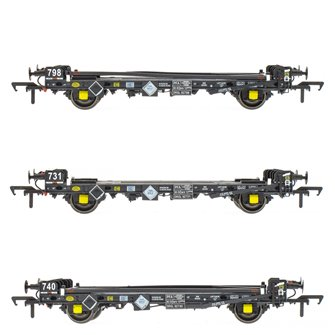 Set of 3 PFA 2 Axle Container Flat Wagons (Pack P)