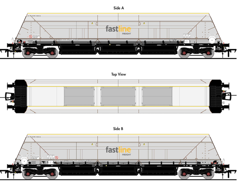 HYA Bogie Hopper Wagon - Fastline Freight - Twin Pack 1