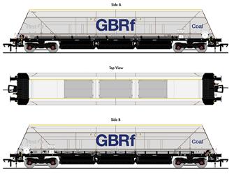 HYA Bogie Hopper Wagon - GBRf Coal Branding - Pack 1