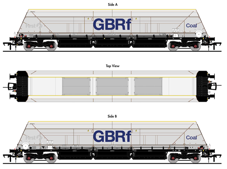 HYA Bogie Hopper Wagon - GBRf Coal Branding - Pack 3