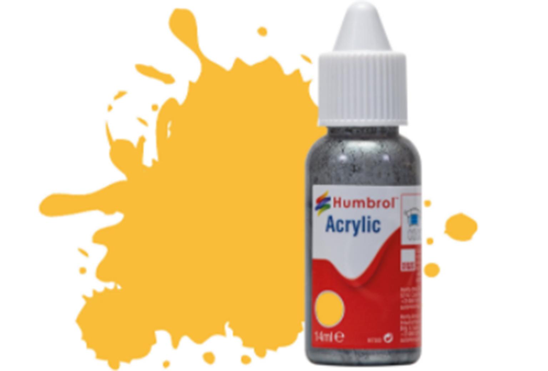 HUMBROL ACRYLIC DROPPER BOTTLE - No 24 Trainer Yellow - Matt - 14ml