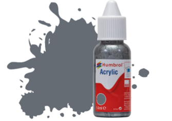 HUMBROL ACRYLIC DROPPER BOTTLE - No 123 Extra Dark Sea Grey - Satin   - 14ml