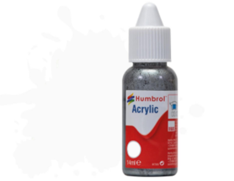 HUMBROL ACRYLIC DROPPER BOTTLE - No 130 White - Satin   - 14ml