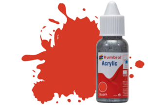 HUMBROL ACRYLIC DROPPER BOTTLE - No 174 Signal Red - Satin   - 14ml