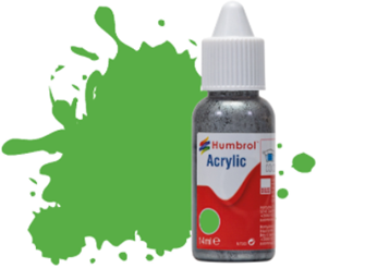 HUMBROL ACRYLIC DROPPER BOTTLE - No 208 Fluorescent Signal Green Gloss - 14ml