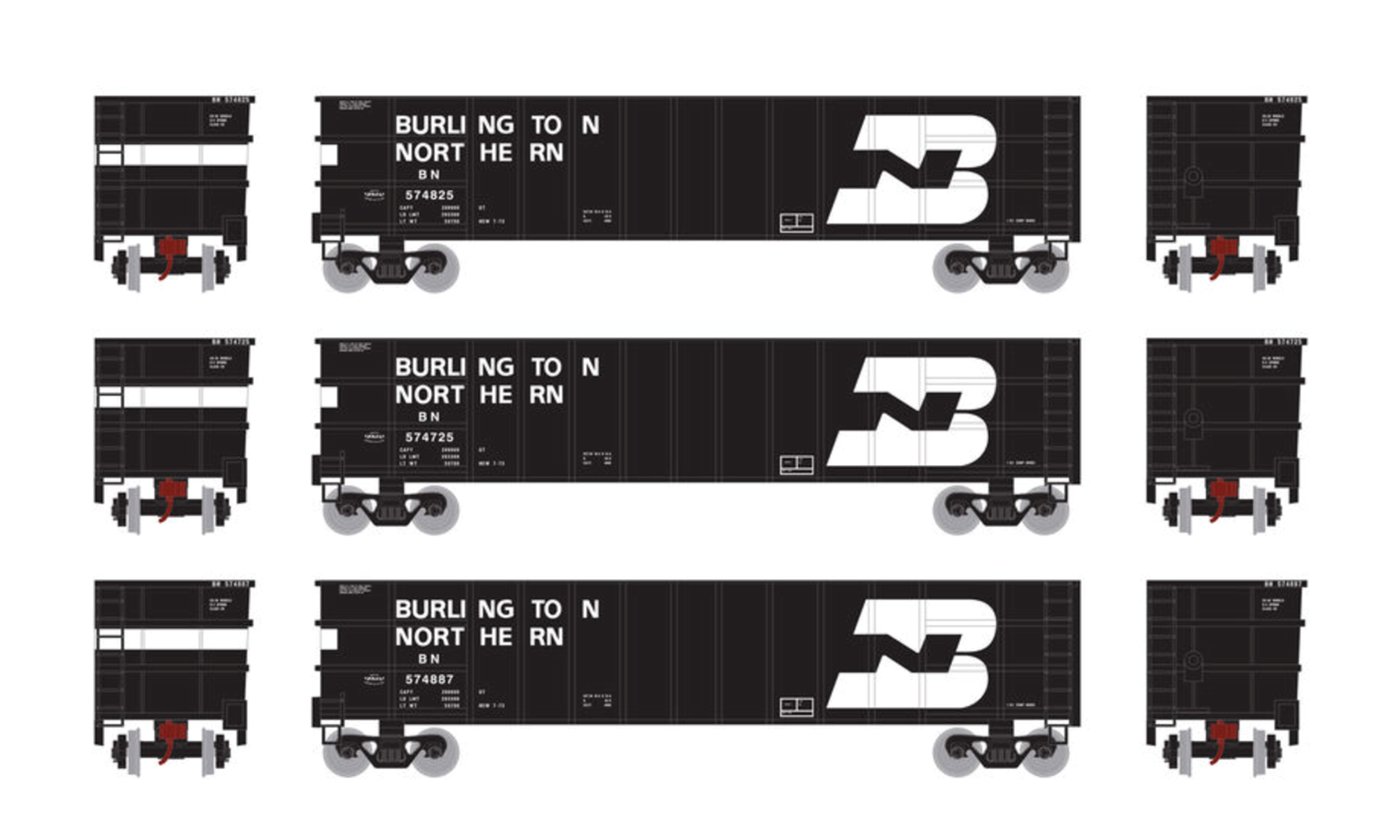 N Set of 3 Thrall High Side Gondola Wagons with Loads,  BN #1 (3)