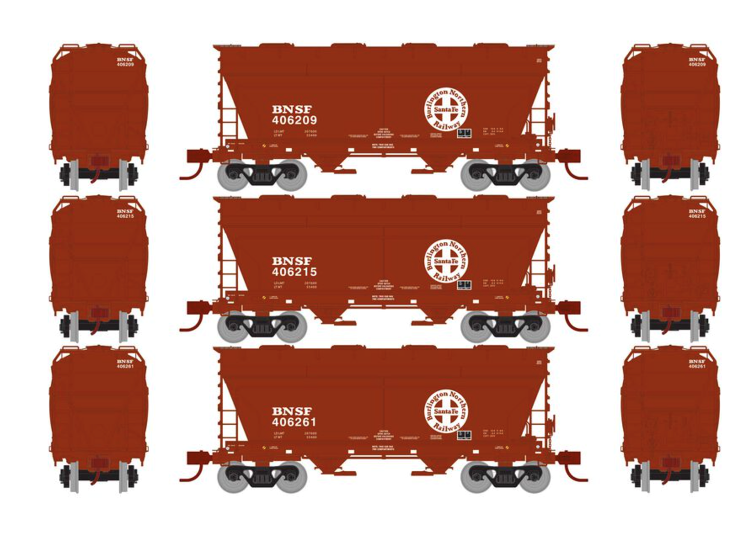 Set of 3 RTR BNSF (Brown) ACF 2970 Covered Hoppers